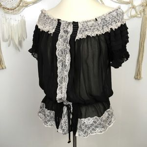 Black white lace smocked off the shoulder top xl